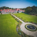An aerial photograph of the grounds of the Petwood Hotel shot in summertime using a drone