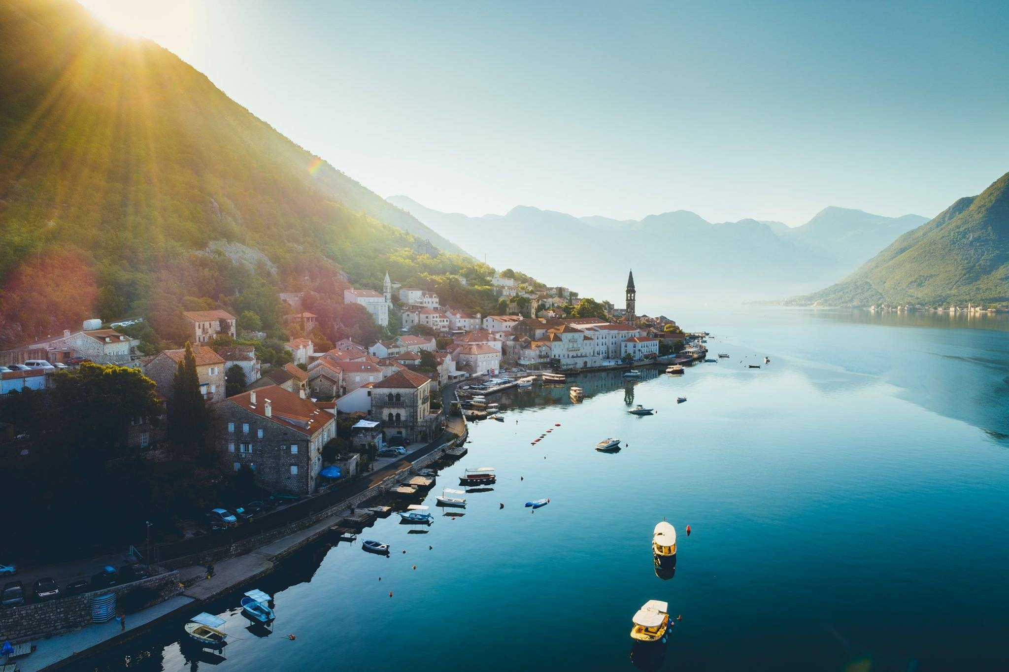 The town of Perast photographed from a drone at sunrise
