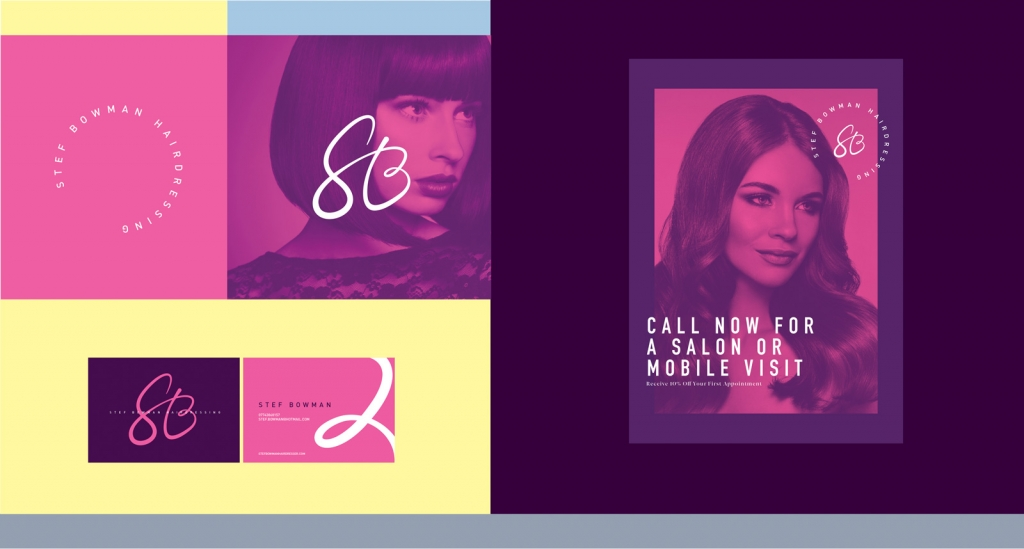 An example branding project for a hairdressers using feminine colours and modern typography.