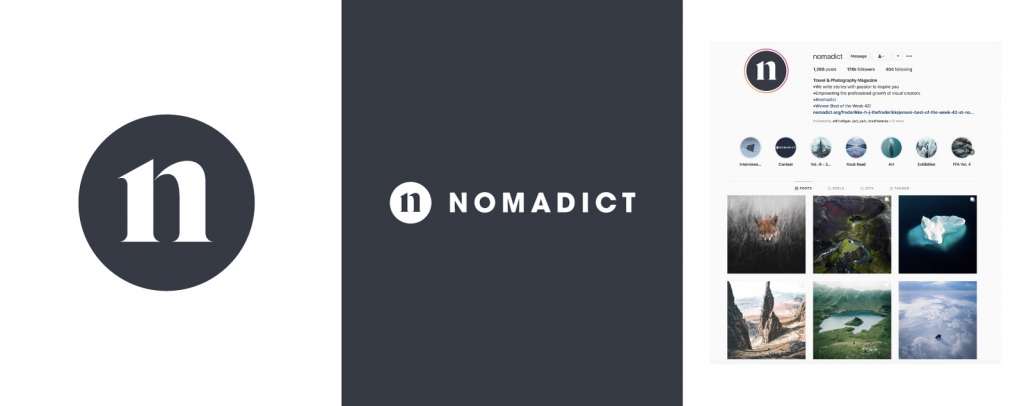 An example branding project created for Nomadict using a simple serif font and modern colour palette